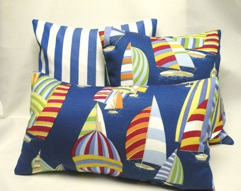 Nautical Sailboat Lumbar Pillow Cover 12 x 20  - Beach Coastal Decor
