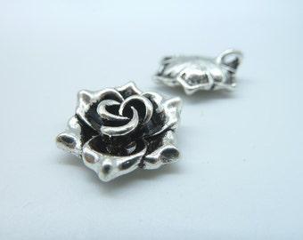 10pcs 19mm Antique Silver Thick 3D Flower Charm Pendant b287