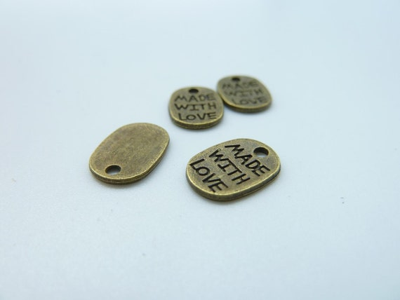 50pcs 9x11mm Antique Bronze Mini Made With Love Charms Pendant c1126