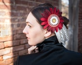 Red Flower Fascinator with White & Black Feathers - APHRODITE