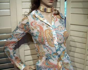 Vintage 1980s Semi Sheer Pleated Blouse, Vibrant Colors, Asian Paisley, Boho, Hippie, S-M