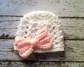 The Ashlee Beanie in White and Pale Pink with Large Bow Available in Newborn to Tween Size- MADE TO ORDER