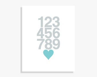 Heart & Numbers Poster - Modern Nursery Decor Kids Wall Art Baby - Silver Turquoise Digital Print Poster on Fine Art Paper