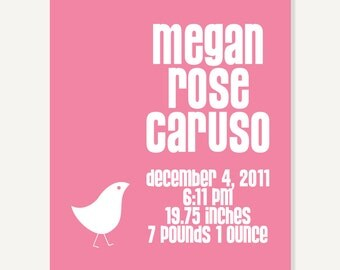 Baby Girl Nursery Decor: Birth Announcement Poster - Personalized Kids Wall Art (More Colors)