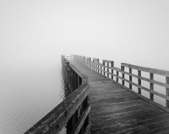 Black and white photography, nautical photography, minimalist photography, pier photography, fog photography, nautical decor, lake house art