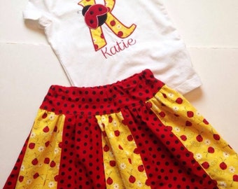 Personalized Ladybug Stripwork Skirt Set