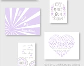 Purple and Gray Dahlia Nursery Decor, You Are My Sunshine Prints, Eclectic style Gallery wall Art, Pirple girl decor, baby gift  YassisPlace