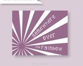 Somewhere Over The Rainbow,  Purple nursery decor, custom colors baby shower gift, wall art for baby girl nursery
