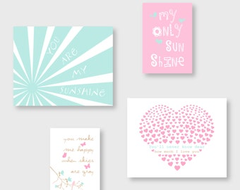 You Are My Sunshine girl nursery decor, Maya colors,  Pink,  Aqua and beige kid Wall Art  by YassisPlace