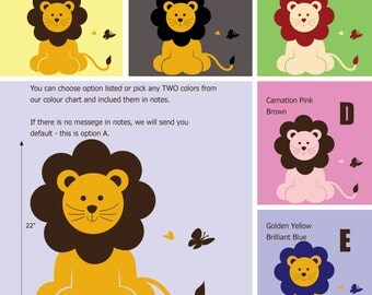 Lion Wall Decal - African Wall Stickers - Safari Wall Decals