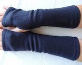 Navy Blue Fleece Fingerless Gloves, Fleece Arm Warmer, Fleece Cycling Glove, Texting Glove, Fleece Driving Glove, Fleece Hand Warmer, Mitts