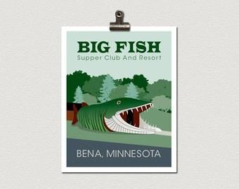 Big Fish Supper Club Bena Minnesota Roadside Attraction Travel Poster Print