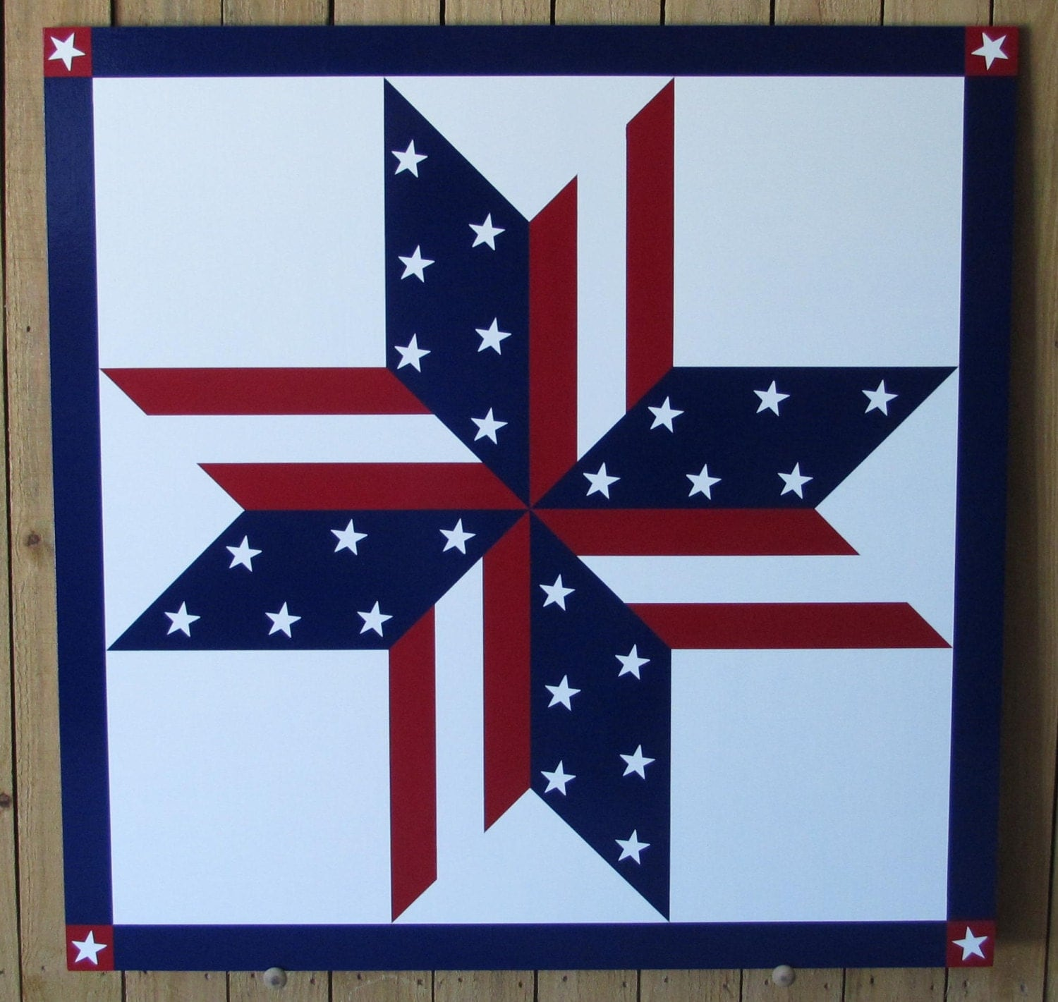 Red Barn Quilts Stars Stripes Barn Quilt 24x 24