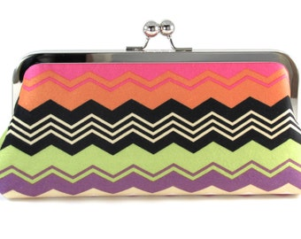 Chevron Clutch Purse - Tangerine Black Lime Green Multi Colored Handmade Modern Evening Bag - Bagboy