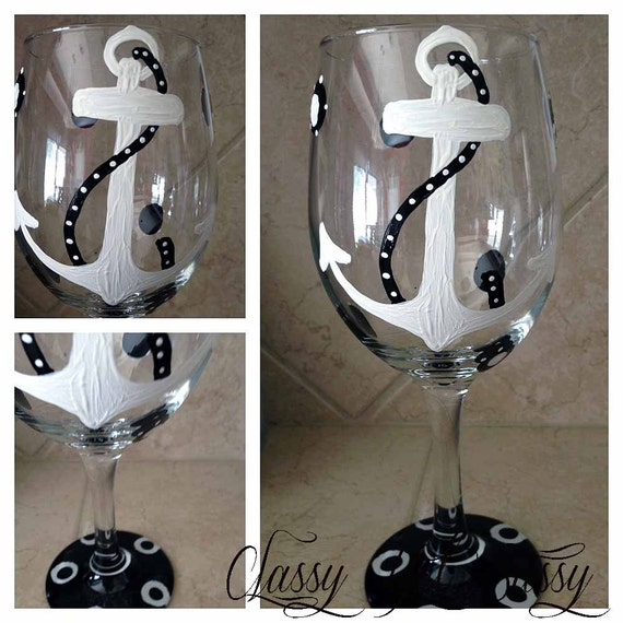Anchor Nautical Wineglass Design- Painted Wine Glass