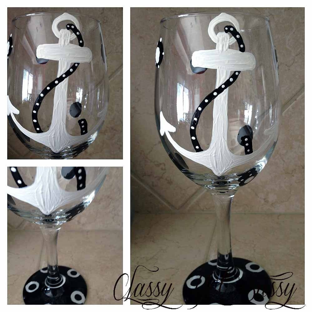 Anchor Nautical Wineglass Design Painted Wine Glass