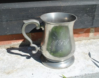 Vintage - Crown Rose Cast Pewter tankard - Made in England