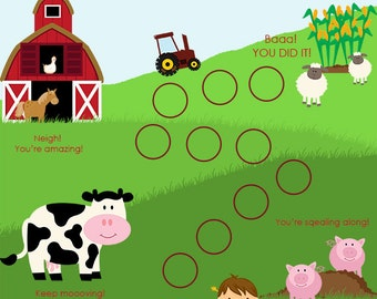 Instand Download, Farm Child Behavior Reward Chart, Boy, Incentive Chart, Behaviour Chart