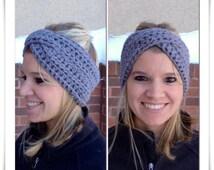 Adult Crossover Winter Headband, Womens Winter Accessory, Twisted Headband, Bulky Earwarmer, Turban Style Headband, Crochet Headband