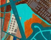 Open Buildings 2, mixed-media/acrylic on canvas, map art