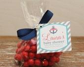 24 Mini Cellophane Favor Bags - Nautical Tag Design - Bridal Shower Favor Bags // Party Favor Bags // Baby Shower Favor Bags