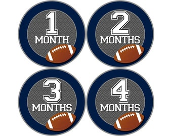 Monthly Baby Stickers, First Year Photo Props, Baby Month Stickers, Baby Announcement, Monthly Photos, Baby Gift, Football (N036)