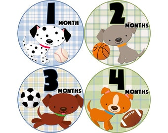 Monthly Baby Stickers, Boys First Year Photo Props, Baby Month Stickers, Baby Announcement, Monthly Photos, Baby Gift, Puppies (B022)