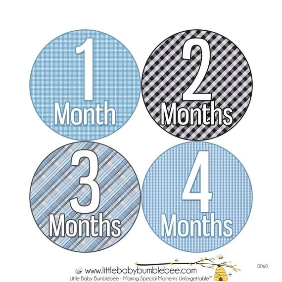 Monthly Stickers, Boys Photo Props, Monthly Baby Stickers, Monthly Baby Photos, Baby Gift, Milestone Stickers, Blue Gray (B060)