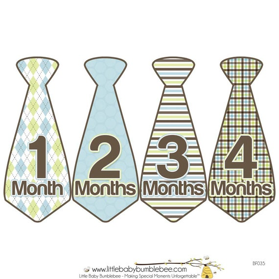 Monthly Boy Tie Stickers, Baby Announcement, Monthly Baby Stickers, Monthly Photos, Baby Gift, First Year Photo Prop, Brown Blue (BF035)