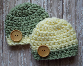 Chunky baby hat twin set  - lemon lime twin set - twins photo prop - baby shower gift - made to order