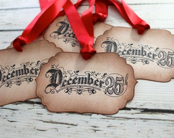Vintage Inspired Holiday Gift Tags - December 25th - Set of 5
