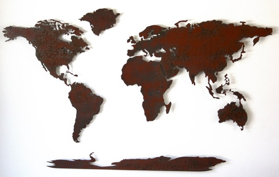 "World Map Metal wall art - 50"" wide X 30"" tall - 5 separate pieces - Choose your patina color :)  Shown in the Rust Patina"