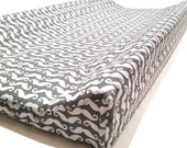 Changing Pad Cover - nursery bedding - baby changing station - Grey Mustaches