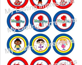 LITTLE EINSTIENS Personlized Cupcake Toppers - Birthday Party Favors