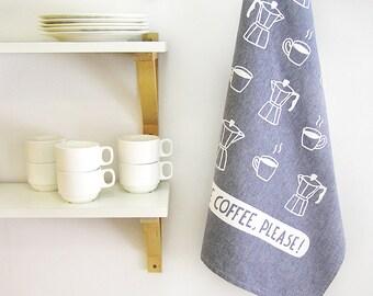 Tea Towel More Coffee Please! Hand Screen Printed Dish Cloth · House warming gift ·Kitchenware · Houseware ·Decor