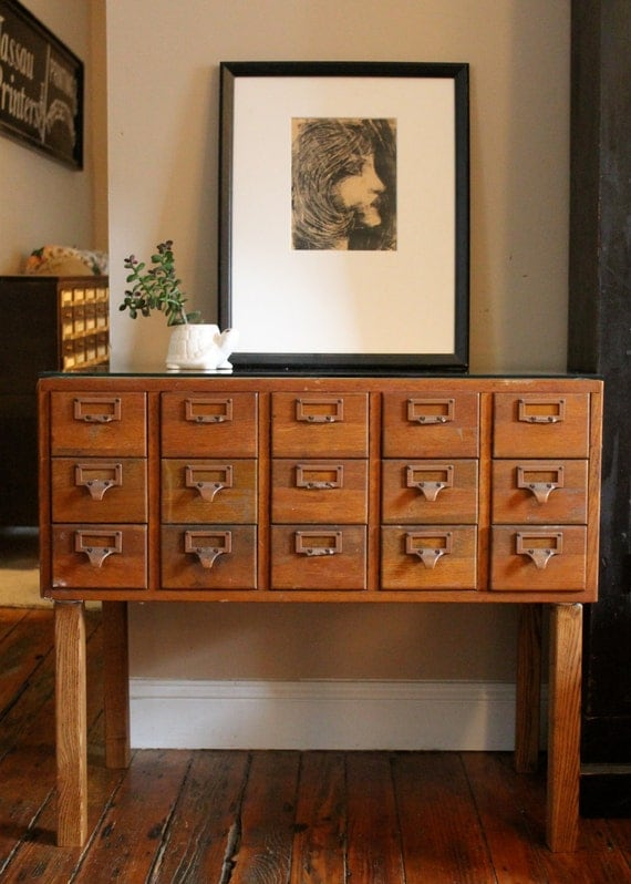 Reserved For Dana Vintage Library Card Catalog File Cabinet