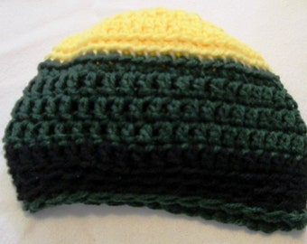 Hand Crocheted Infant or Baby Beanie Hat in Green, Yellow and Black