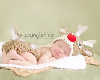 christmas Newborn or 0-3 months  baby rudolph red nose  reindeer diaper  cover hat set crochet Newborn photo props photography boy girl