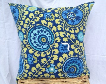 """20""""x20"""" Pillow Cover - blue & green paisley"""