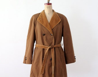 vintage 70s trench, winter car coat