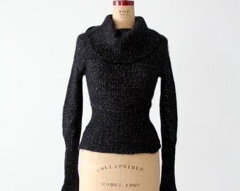 vintage angora cowl neck sweater, black with metallic threading