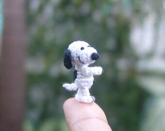 miniature animal 0.9inch - dollhouse white and black dog - tiny amigurumi animals