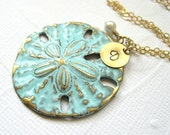 Beach necklace, Aqua ocean blue necklace, Sand dollar pendant, Custom beach jewelry, Personalized boho necklace, Beach wedding, Sea jewelry
