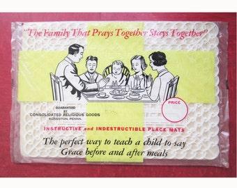 1940s-50s Plastic Prayer Place Mats - Kitsch - Religious - Deadstock