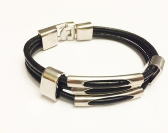 Triple Silver Charm with Black leather cord Silver Clip on buckle bracelet