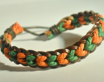 Green and Orange  hemp cord and Brown leather braided bracelet
