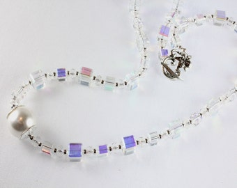 Celestial Crystal AB Cubes Necklace with Pearl Focal