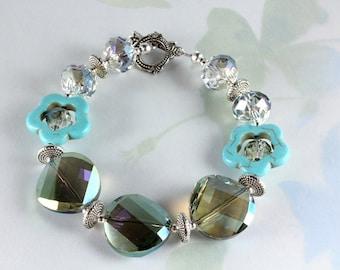 Mystic Teal Crystal and Magnesite Bracelet