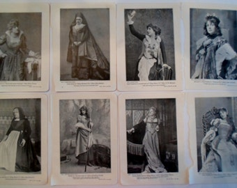 Antique EIGHT bookplates actress and actors of Shakespeare  plays photography  engraving 1899