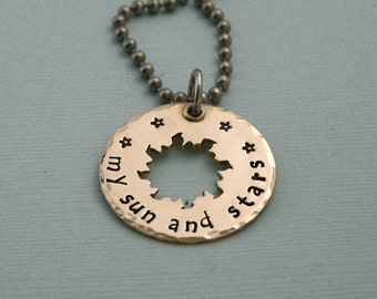My Sun and Stars - Game of Thrones Jewelry - Hand Stamped Brass and Sterling Silver - Stainless Steel Chain